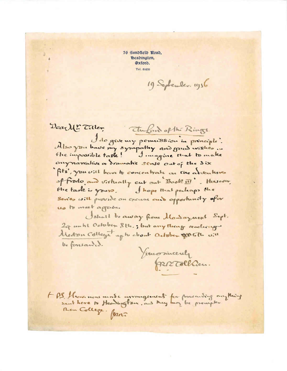 a one page handwritten letter signed jrr tolkien to bbc radio producer terence tiller