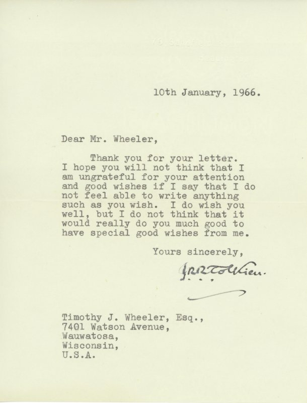 ... Road, Oxford letterhead, 10th January 1966, signed by J.R.R. Tolkien